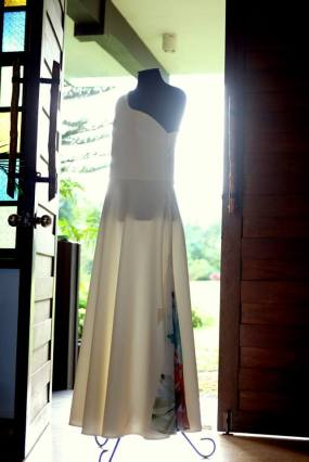The bride's dress, customised with her painting printed on the skirt! (Photo by Sarah Mendoza)