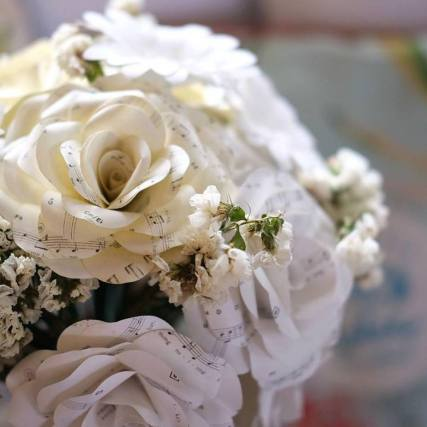 The bridal bouquet made by the bride's friend Lee Dequito. Final touches by family and friends of the bride! (Photo by Sarah Mendoza)